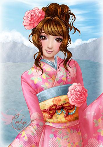 Japanese pink kimono - closeup