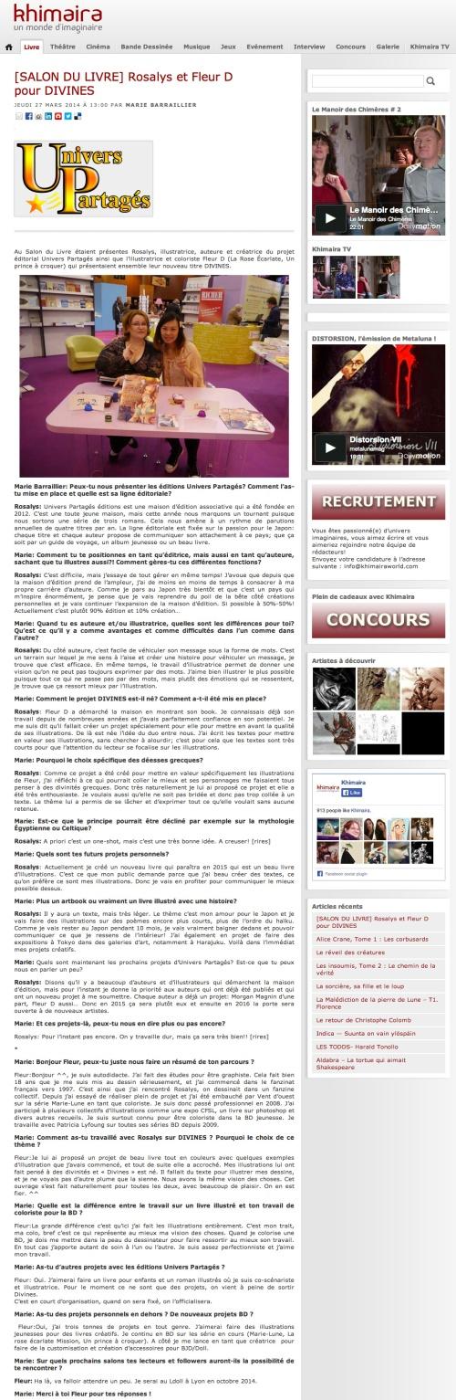 Khimaira : Magazine de l'imaginaire (FR) 2014