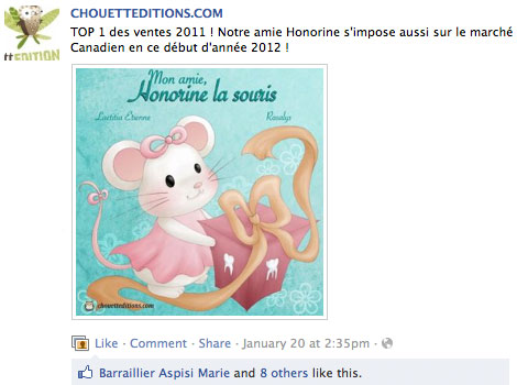 Honorine - Top 1 bestseller of the publisher 2011 and also 2012