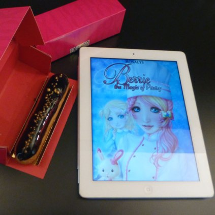Berrie, the Magic of Pastry - iPad - with chocolate & gold éclair pastry from Fauchon Paris