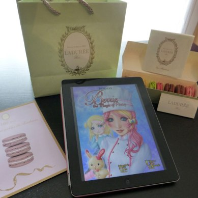 Berrie, the Magic of Pastry - iPad - with macaroons from Ladurée Paris