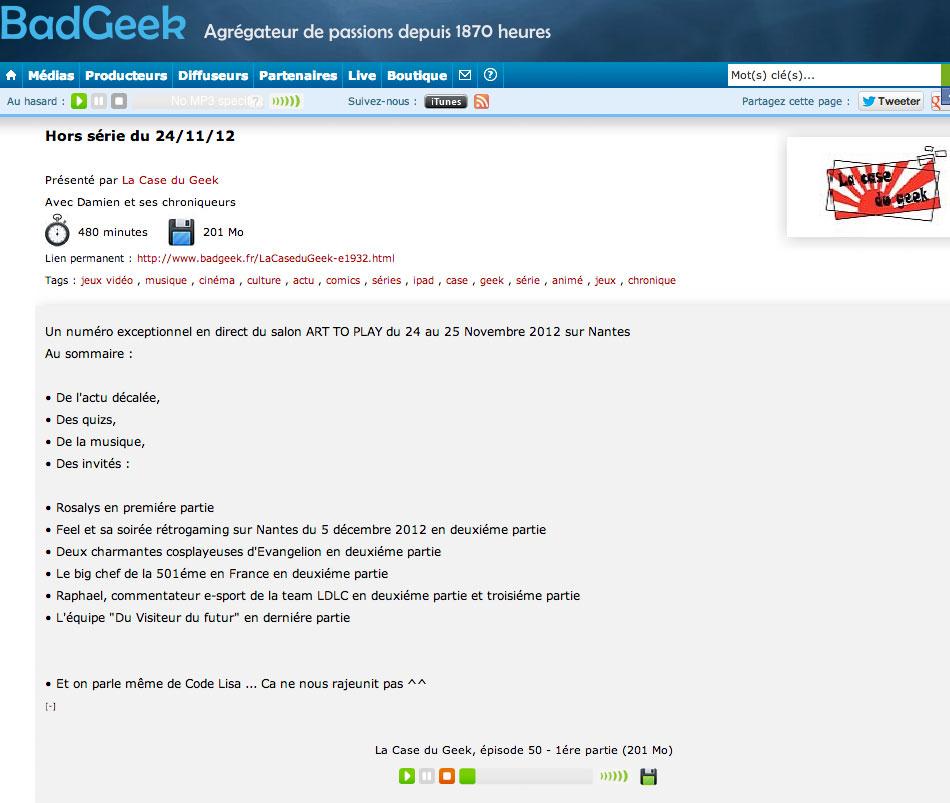 La case du geek : Radio (FR) 2012 – Rosalys Artist