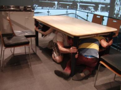 Earthquake simulation: under the table