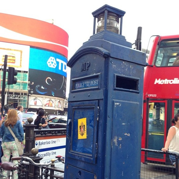 Simply an authentic english police box. Can't help but think about the TARDIS ^o^ ‪#‎DoctorWho‬ ‪#‎PiccadillyCircus‬ http://instagram.com/p/btec5ru39g/