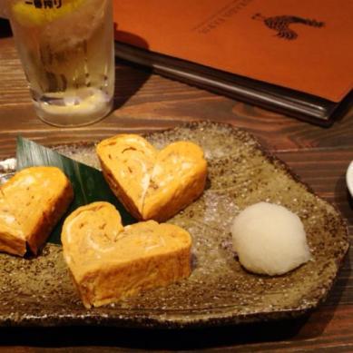 Heart tamagoyaki, kawaii~!! — at Tsukada Farm.
