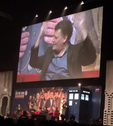 "#DoctorWho50th #DWCelebration #DayoftheDoctor #EleventhHour ""The last panel together about Doctor Who"", Steven Moffat so enthusiastic about Matt Smith. Moving moments for these two"