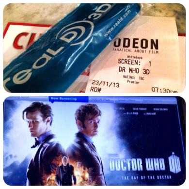 About to watch #DoctorWho50th episode in 3D in theatre! Allons-y ! Geronimo!! (It was stressful to arrive on time at the theatre with a major issue on the London metro O_O)