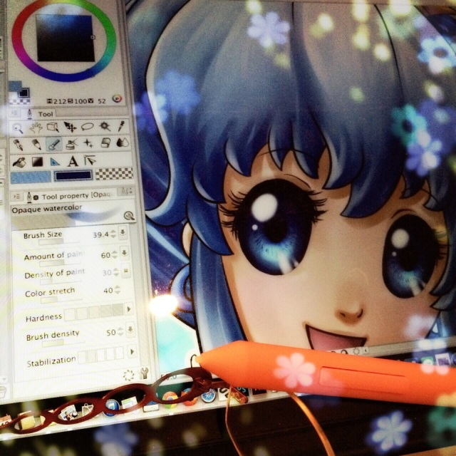 New country (Japan)(was France), new computer (MacBook pro Retina)(was iMac), new software (CLIP STUDIO PAINT)(was Photoshop), new style (with huge eyes!). Still adjusting, still practicing, and keep working on my dôjinshi for the Comiket ^__^