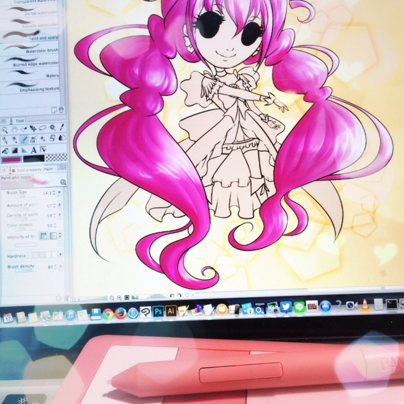 FR EN 日本語   Pour une fois, je commence par coloriser les cheveux plutôt que les yeux ^^ Et sur cette longue chevelure rose, c'est un plaisir ! For once, I begin by colorizing the hair rather than the eyes ^^ These long pink hair are so fun to colorize! いつも目が一番目のを彩るけど、今回は、髪を彩り初めした。この長いピンクの髪を彩るのは楽しいです!