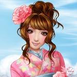 Japanese pink kimono
