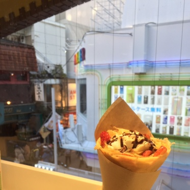 Strawberry crepe and the view