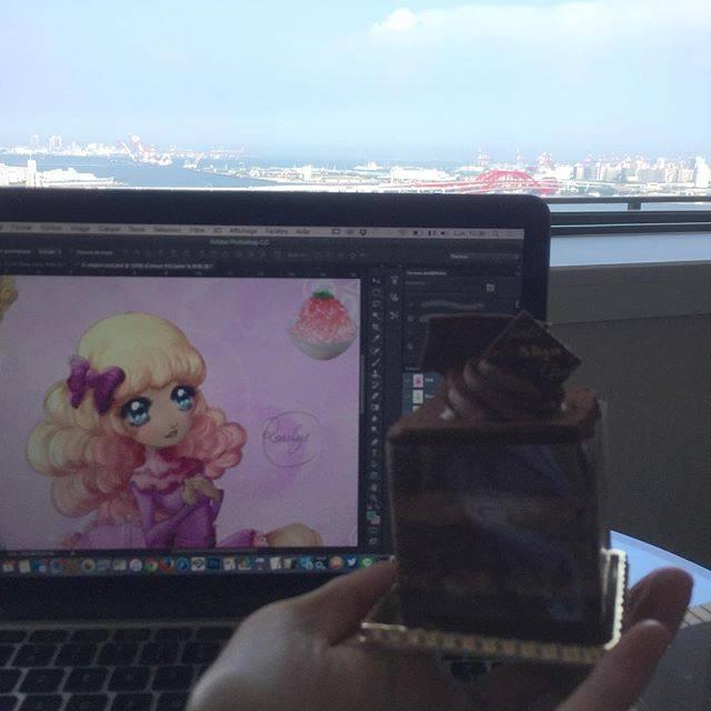 #Illustration #design #patisserie #skyview #Kobe #Japon ( ^ω^ ) Je travaille dur !  #イラスト 全力で仕事中!  Working hard!  #sweets #MacbookPro #chocolate #cake #gateau #chocolat #スイーツ #ShinFactory #ホテルオークラ